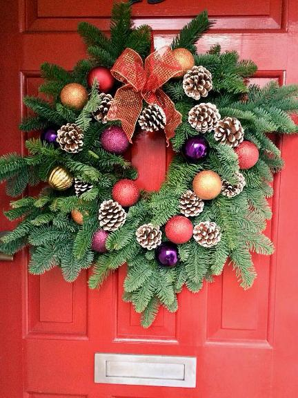 Christmas Wreaths on a red door