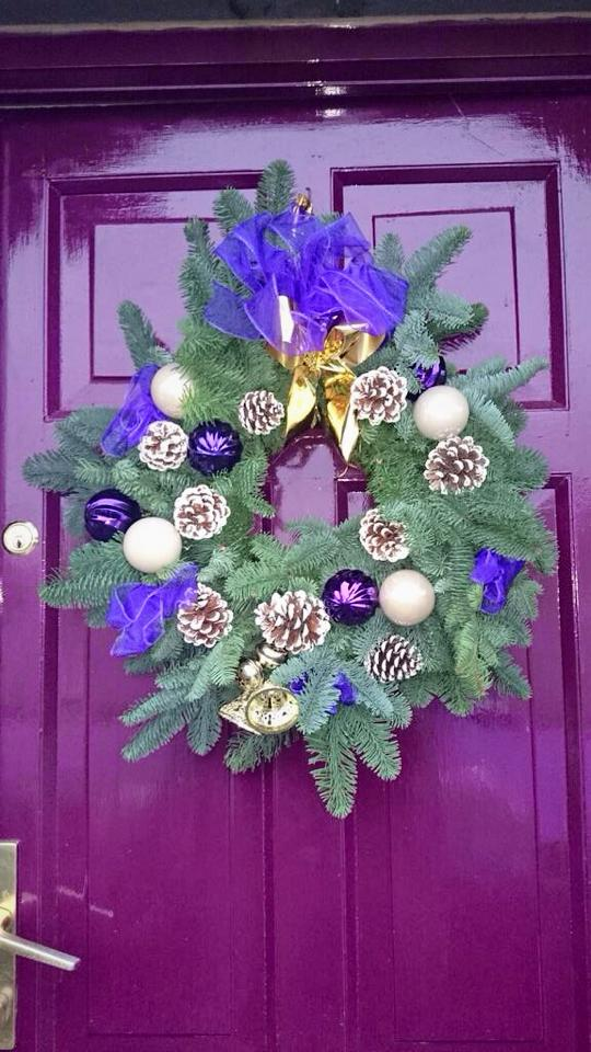 Christmas Wreath on a purple door
