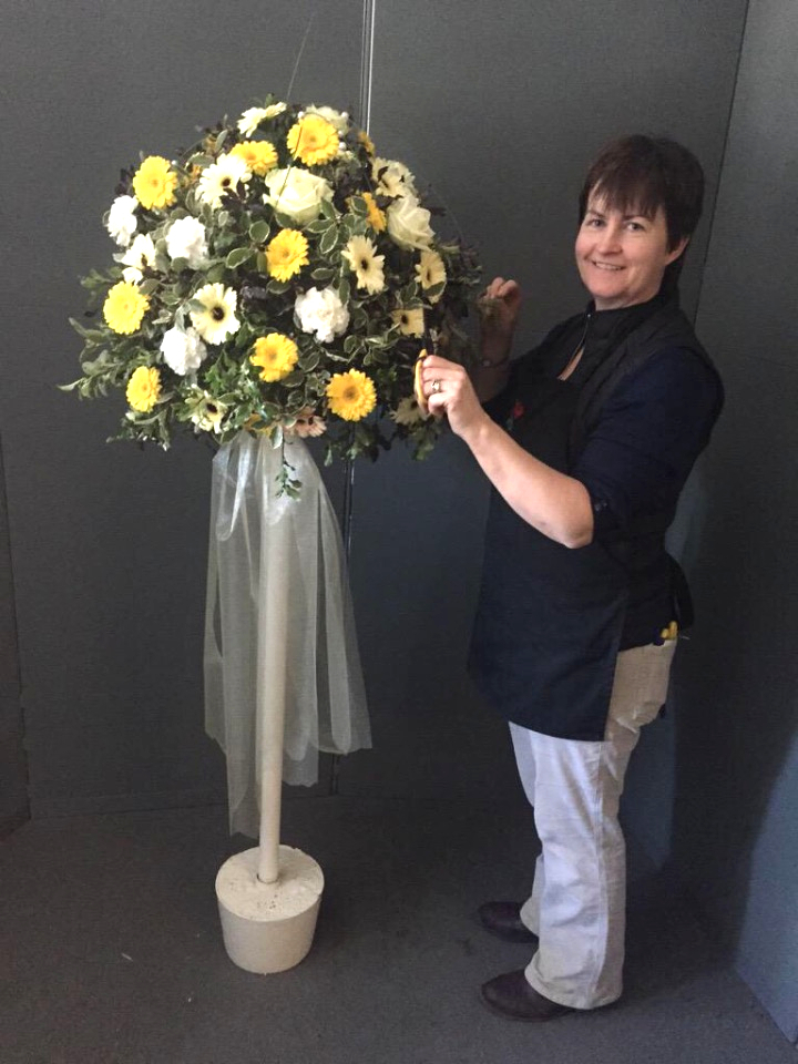 Yellow Topiary Tree of fresh flowers at kays flower school