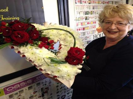 Funeral Heart Wreath of Gyp & Roses