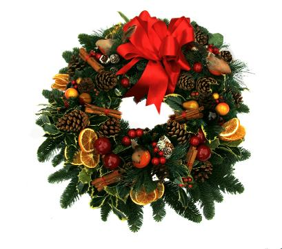 Fruity christmas wreath with orange slices