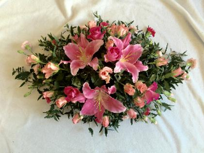 Pink lilly & Rose Funeral Spray