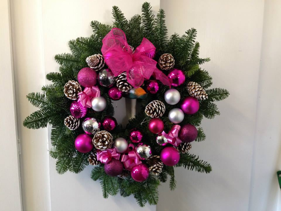 Hot Pink Holly Wreath at the flower school
