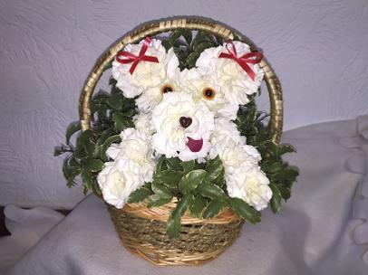 Puppy of Flowers in a Basket
