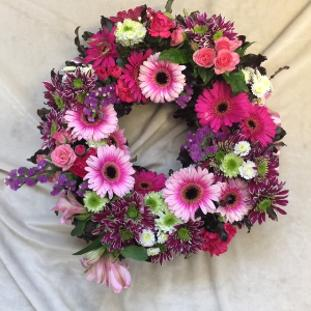 Round textured flower wreath at kays school of floristry