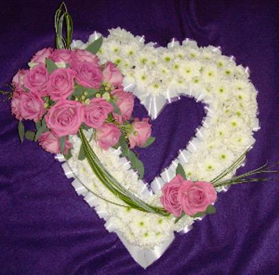 Heart of flowers with Pink Spray