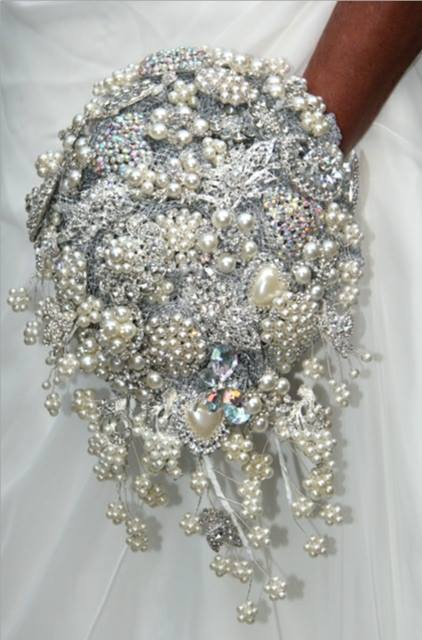 Waterfall Wedding Brooch Bouquet